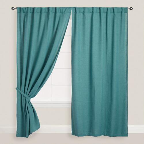 Ocean Blue Bella Concealed Tab Top Curtains Set Of 2 Long