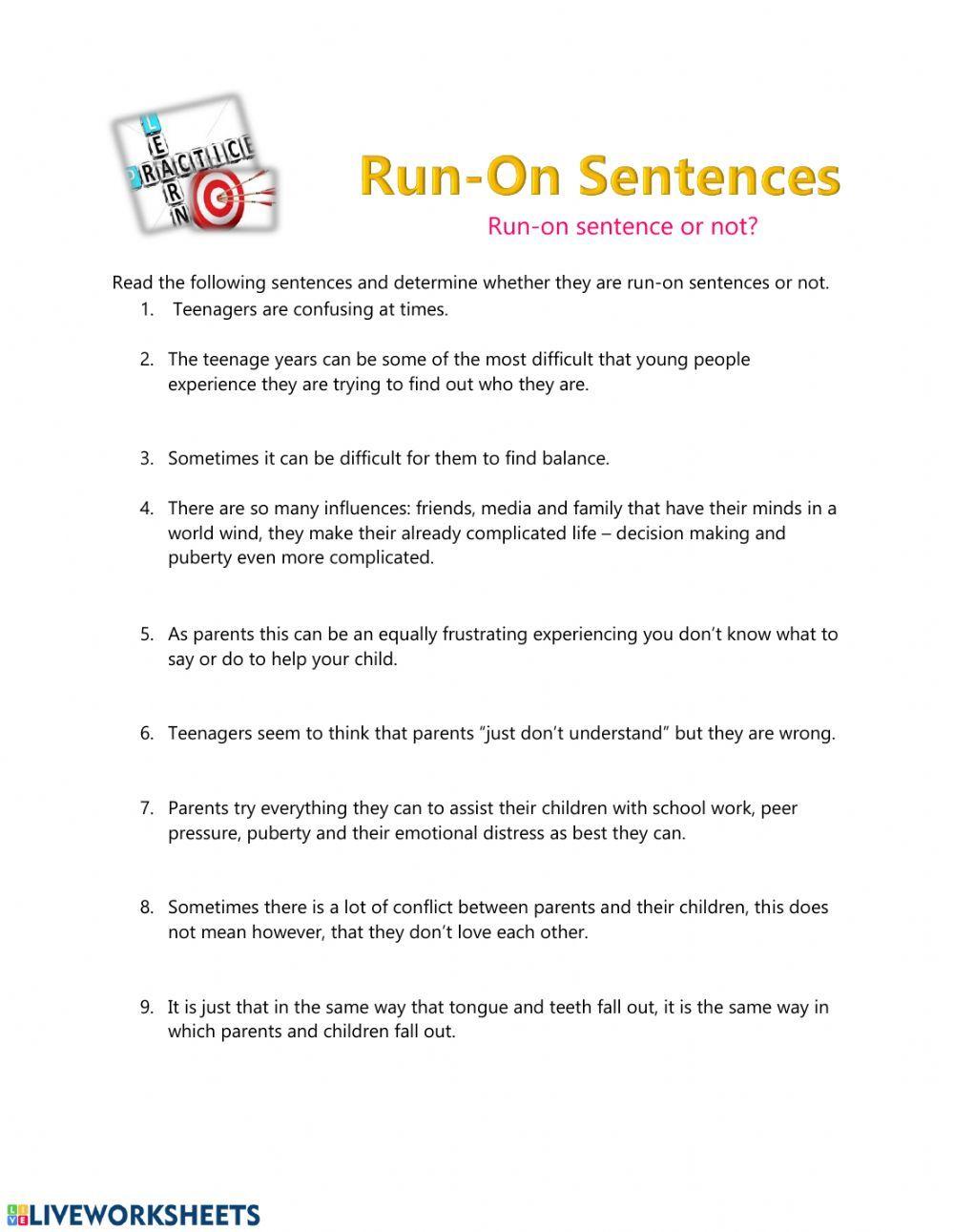 Run On Sentences Interactive Worksheet Run On Sentences Sentences Worksheet Template
