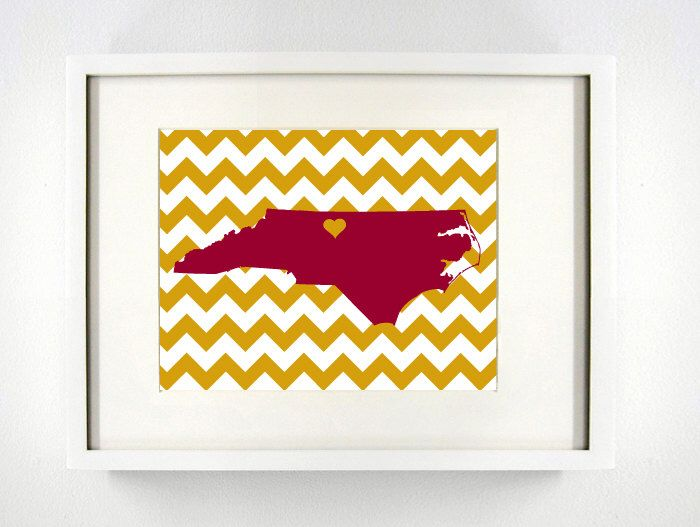 Elon North Carolina State Giclée Map Art Print 8x10 Graduation