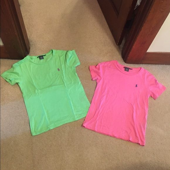 2 Ralph Lauren Tees Great condition! Worn only a couple of times! No flaws or stains. Mint green has purple Polo pony & hot pink has navy blue Polo pony. Price for both. Could easily fit a S. NO TRADES 🚫 Polo by Ralph Lauren Tops Tees - Short Sleeve