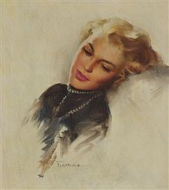 Artwork by Howard Terpning, Thinking of Him, Made of Oil on canvas