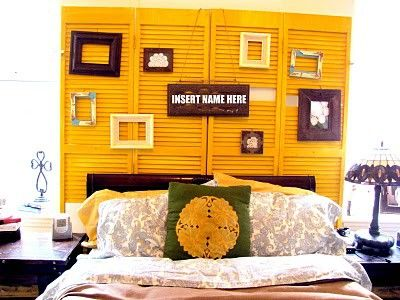 italians old windows re-painted as headboard as this mustad yellow ...