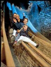 rode down the slides in the saltzburg salt mines in austria