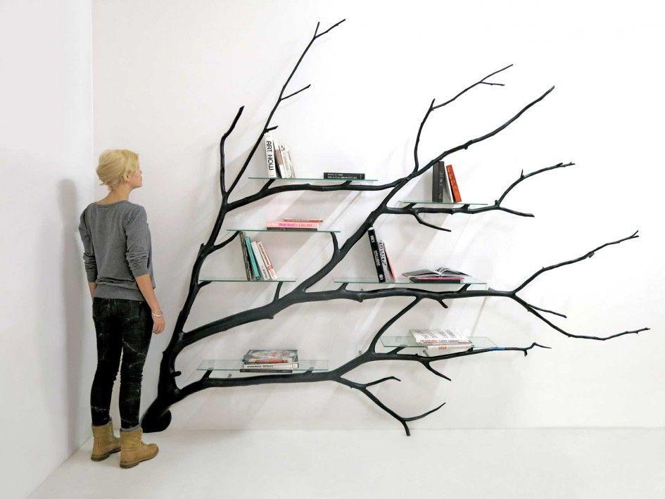 Furniture Impressive Tree Branch Bookshelf Black Finish Natural Wood And Glass Material Modern Home Decor Unique Ideas Stunning