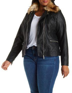 c2368334de9 Plus Size Faux Leather Moto Jacket with Faux Fur  CharlotteLook  Plus   PlusFashion