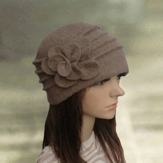 490d09a4 Winter felted hats, Womens winter hats, Felted wool beanie, Embellished felt  hat, Warm women's hat,