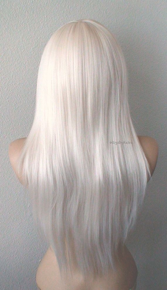 White Blonde Wig 28 Straight Layered Hair Side Bangs Etsy Volume Straight Hair Straight Layered Hair Wigs