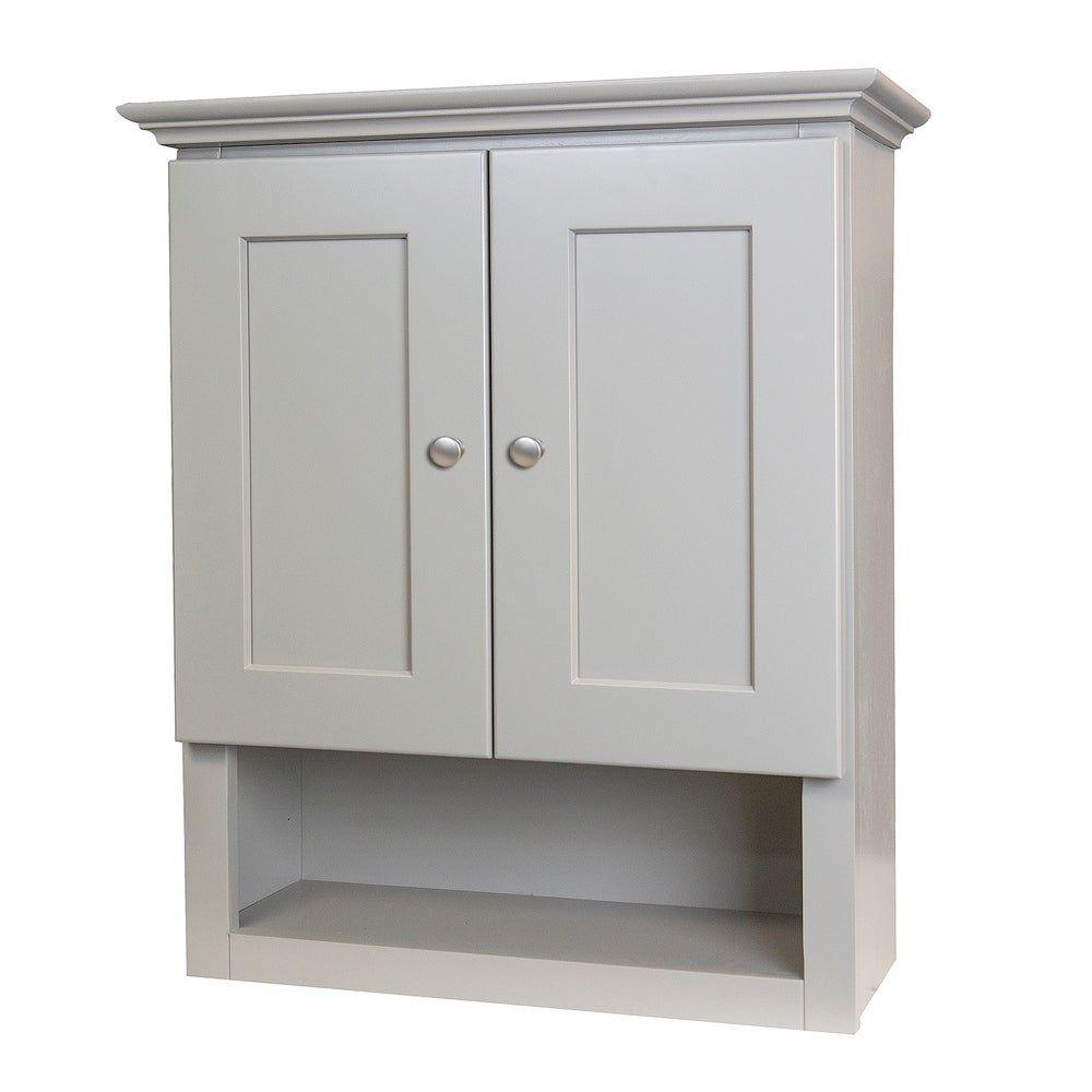 Grey Shaker Bathroom Wall Cabinet Gray Wood In 2020 Bathroom Wall Cabinets Gray Bathroom Walls Rustic Bathrooms