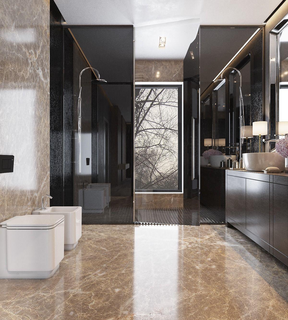 Three Luxurious Apartments With Dark Modern Interiors Elegant Bathroom Design Modern Luxury Bathroom Elegant Bathroom Decor