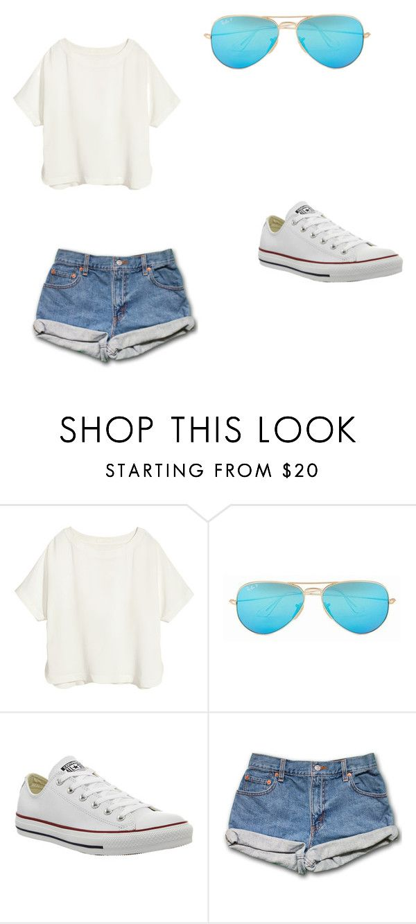 """random"" by jazzmills ❤ liked on Polyvore featuring H&M, Ray-Ban and Converse"