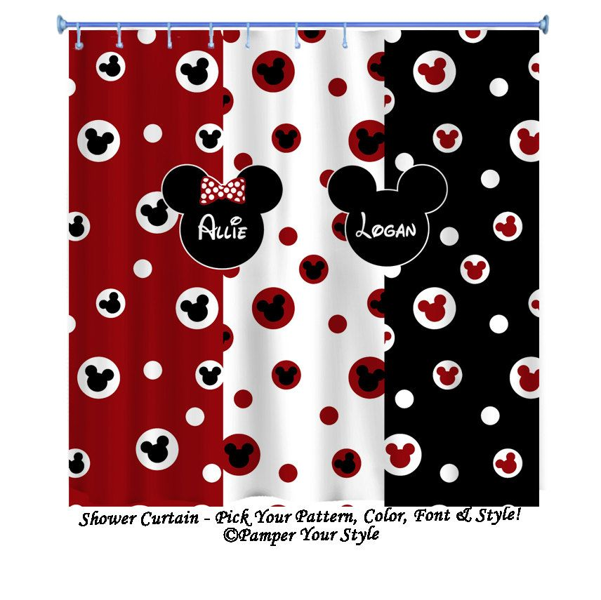 Mickey Mouse Shower Curtain Minnie Mouse By PAMPERYOURSTYLE, $76.00