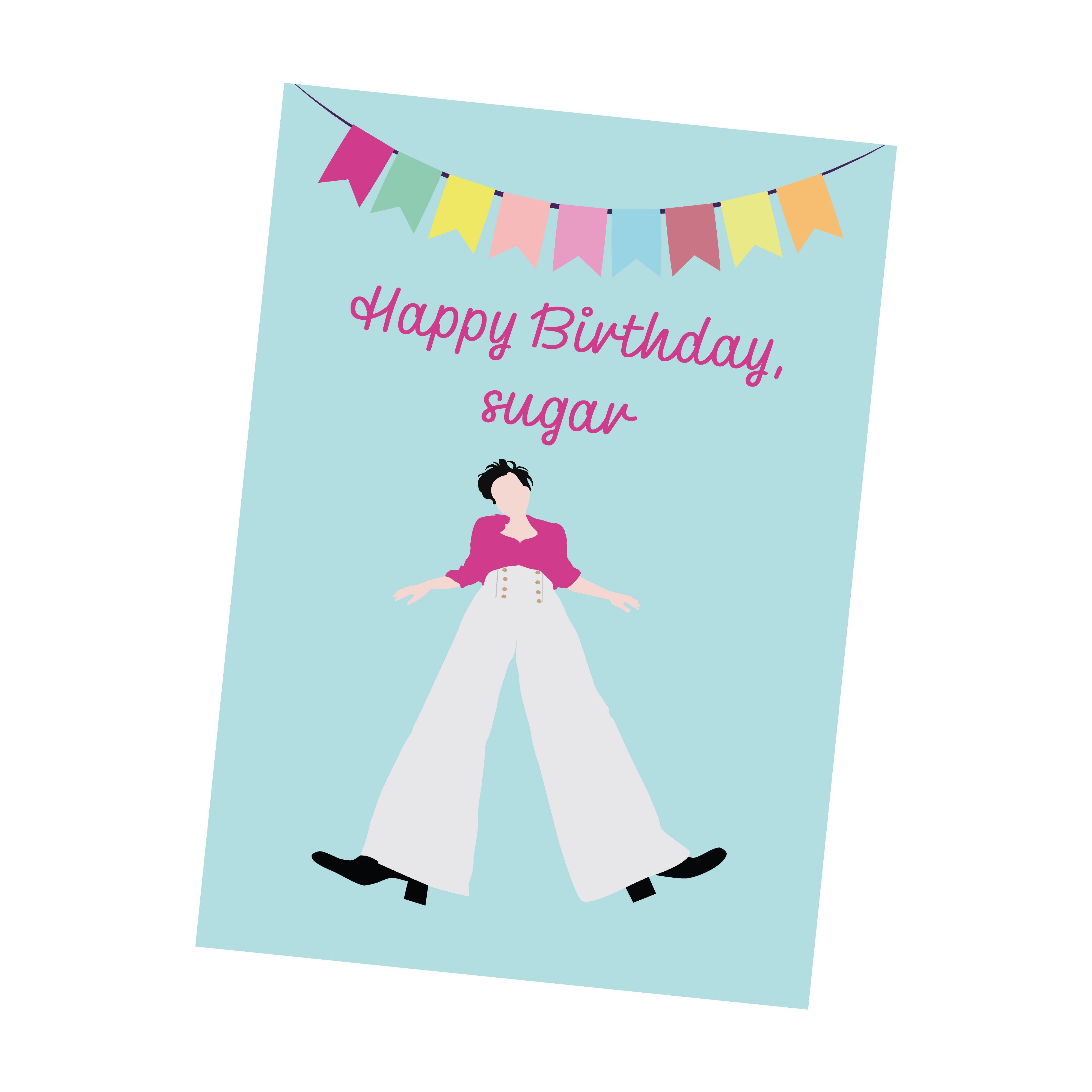 Happy Birthday Sugar Harry Styles Greeting Card Birthday Card Etsy In 2021 Download Birthday Cards Gift Card Printing Birthday Card Printable
