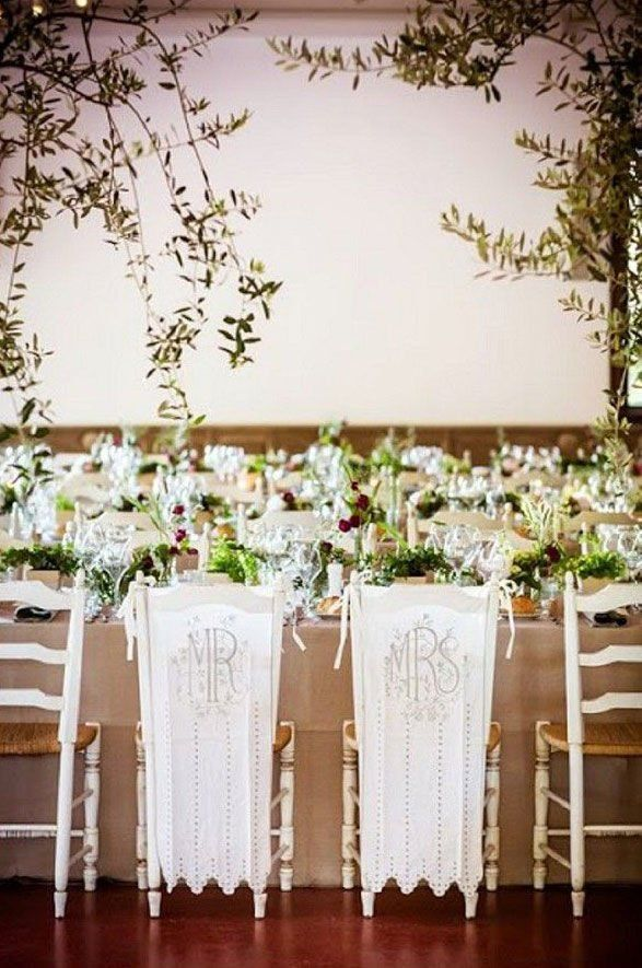 French Wedding Reception With Fl Centerpiecer And Mrs Linen Chair Covers Scalloped Edges
