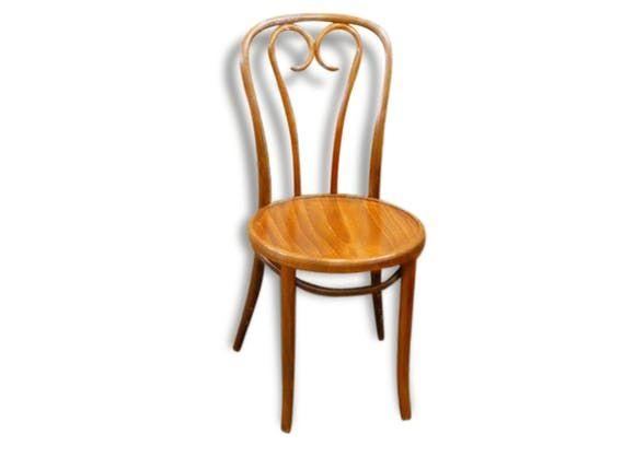 Chaise bistrot en bois recourbé assise en bois ancienne bois
