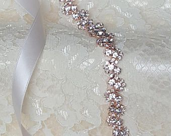 Rose Gold Crystal Rhinestone Bridal Sash,Wedding sash,Bridal Belt,Bridal Accessories,Bridal Belt,Style #58