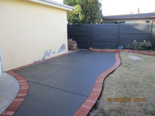 Concrete Patio Extension With Brick Border Exterior Pinterest Patio Concrete Patio And