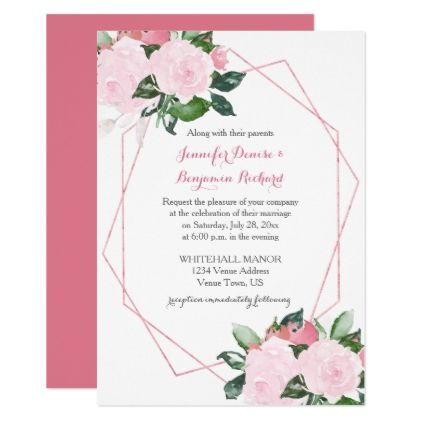 Romantic Pink Roses Geometric Wedding Invitations flowers floral