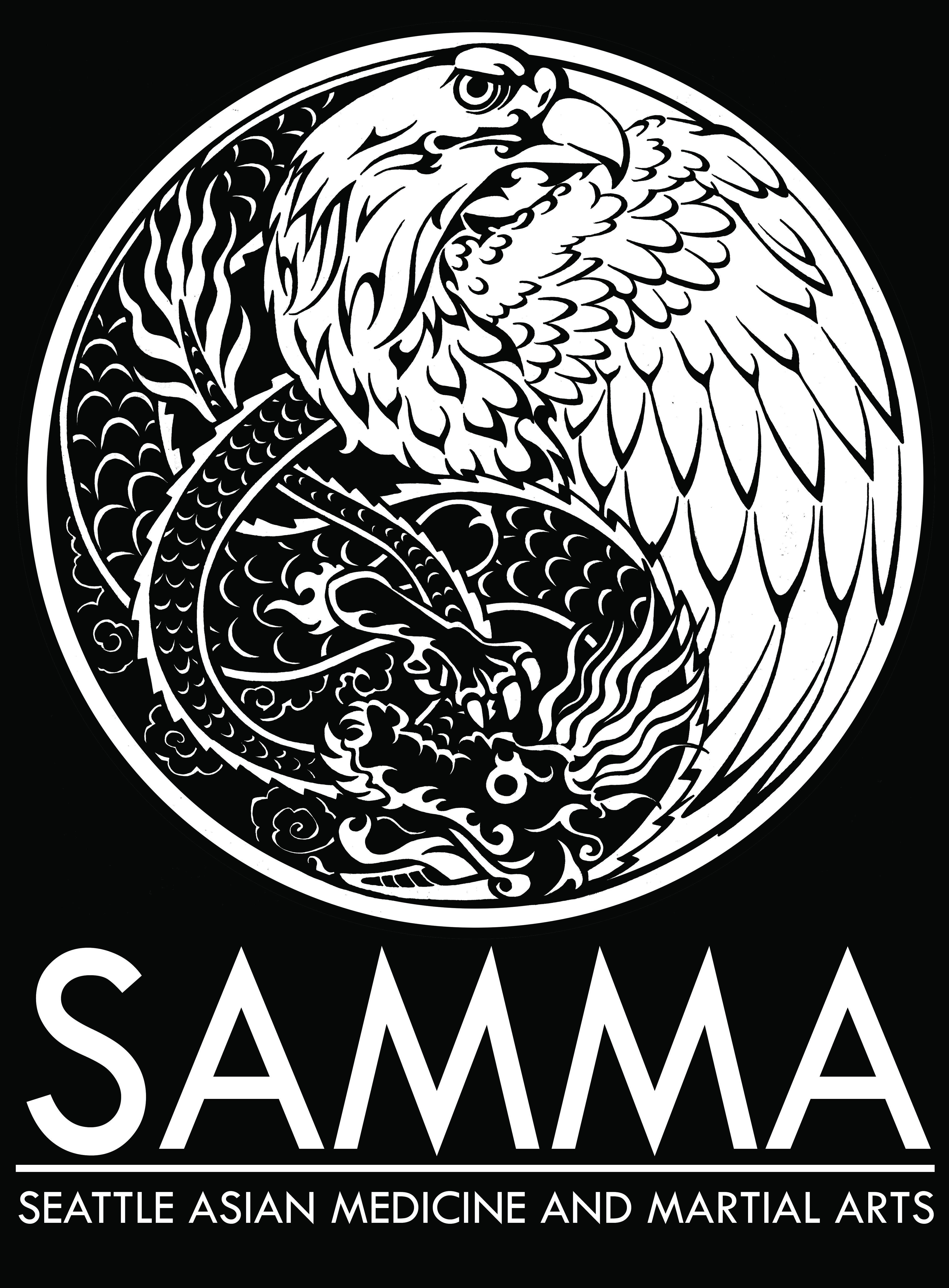 SAMMA logo with text, black background.