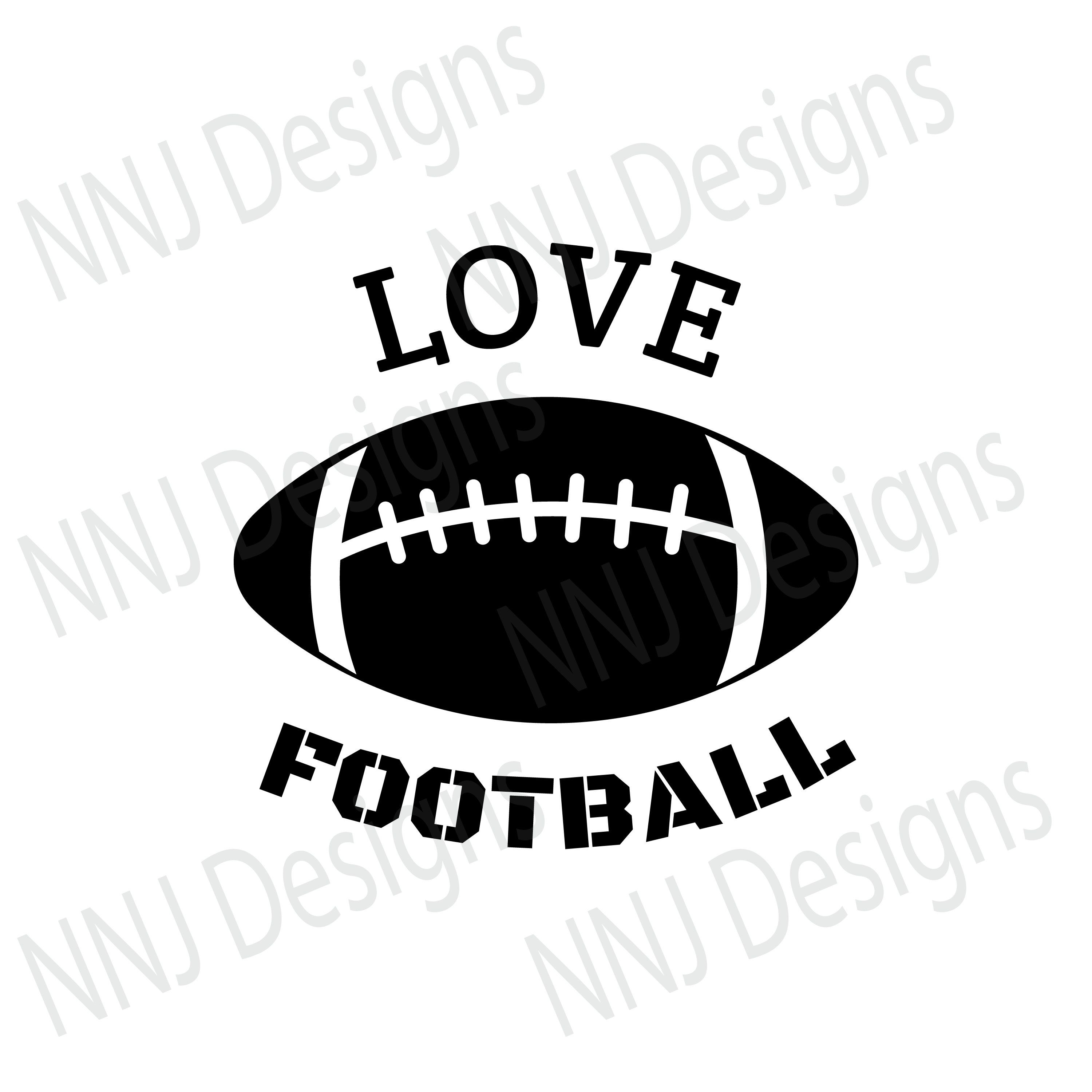 Love Football SVG Files Football Lace Sports Ball Clipart Silhouette