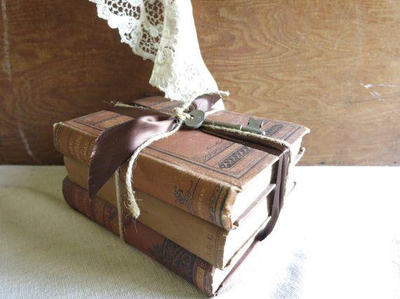 Antique Books  Brown Book Bundle Vintage Library by WrensAttic