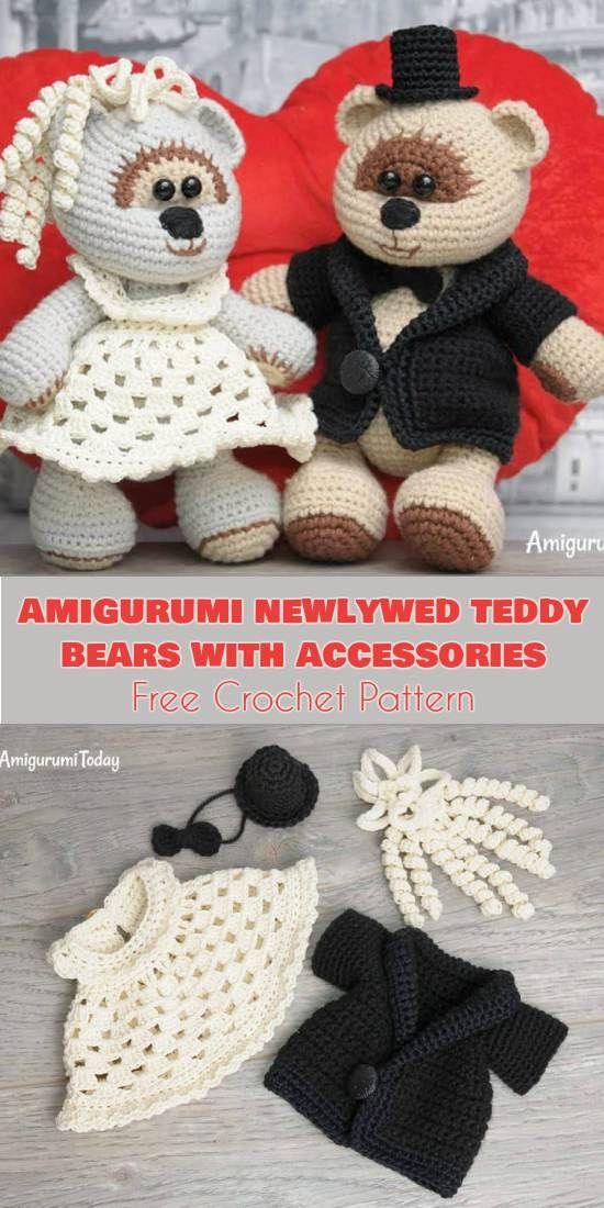 Amigurumi Newlywed Teddy Bears With Accessories Free Crochet