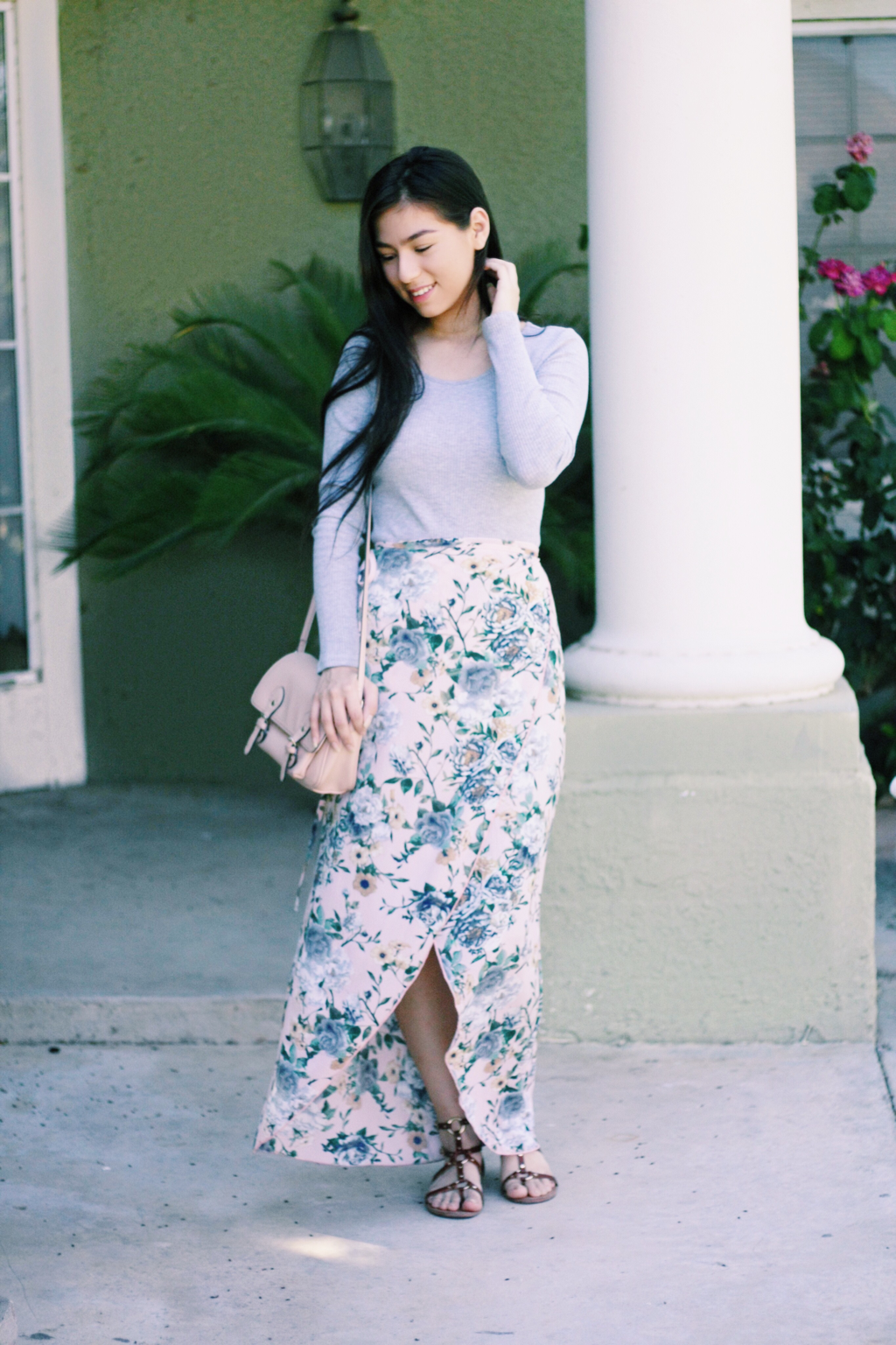 Floral wrap skirt and grey long sleeve featuring nicole from pkid