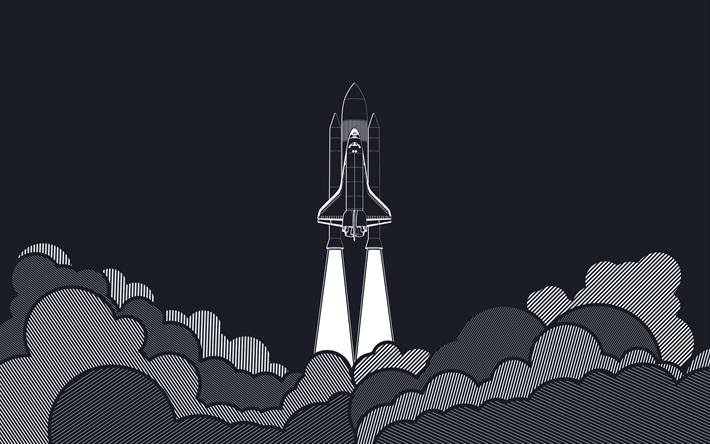 Download wallpapers space shuttle, rocket, startup concepts, minimalism startup, smoke, clouds