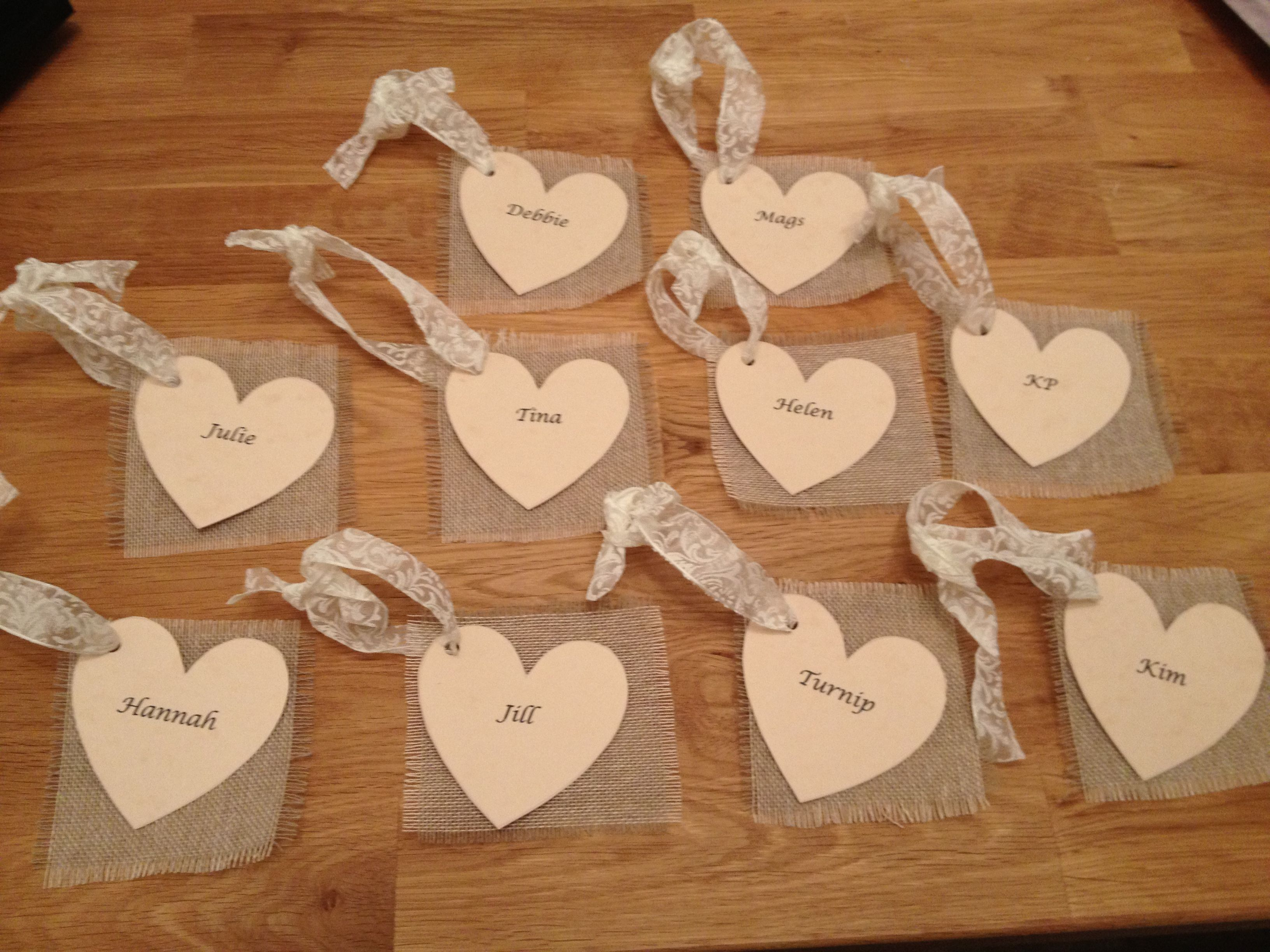 Homemade tags, name cards, escorts cards, or hen night goody bag tags ...
