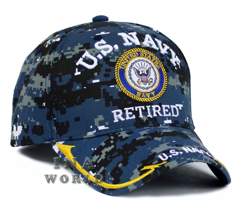 6b0f210c299ae  13.45 U.S. NAVY hat NAVY RETIRED Military Official Licensed Baseball cap-  Navy Camo