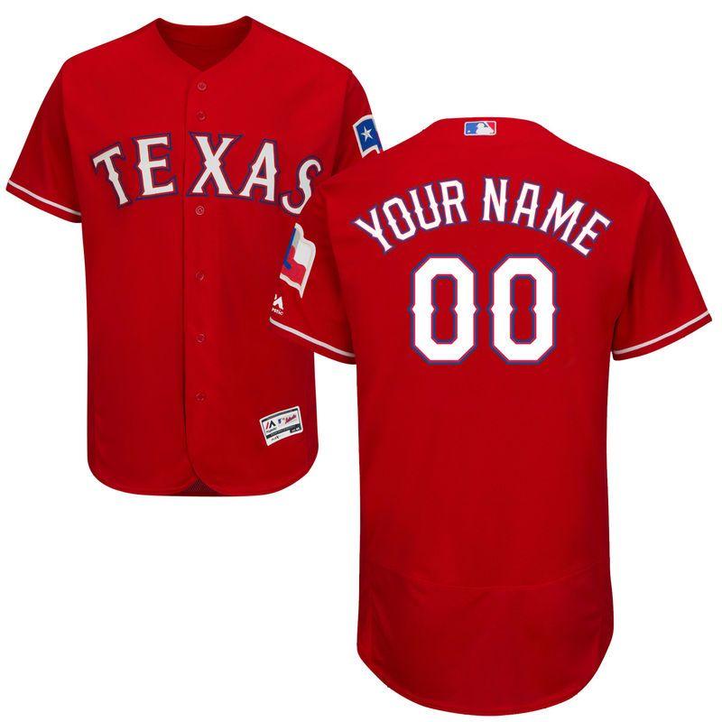 71eca1f4d Texas Rangers Majestic Alternate Flex Base Authentic Collection Custom  Jersey - Scarlet
