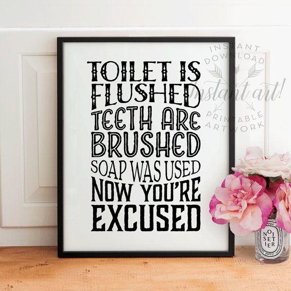 kids bathroom art printable bathroom wall rules flush toilet sign brush teeth wash