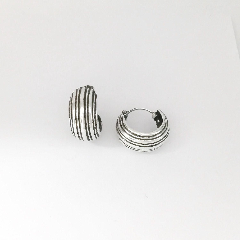 Sterling Silver Uni Earrings Men S Hoop Small Oxidized Hoops By Trendsilver On