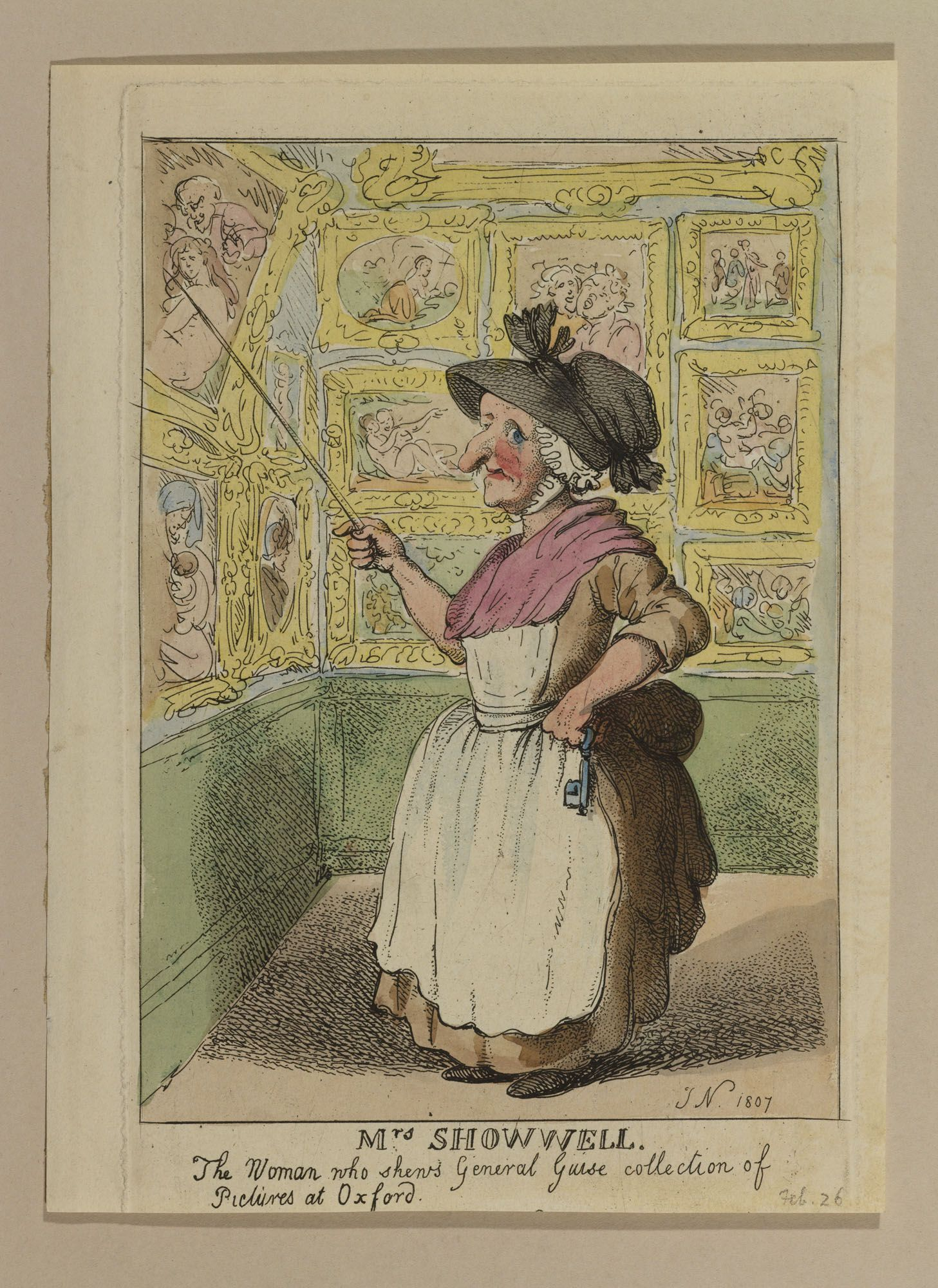 Mrs Showwell. The Woman who shews General Guise collection of Pictures at Oxford. | Rowlandson. 1807