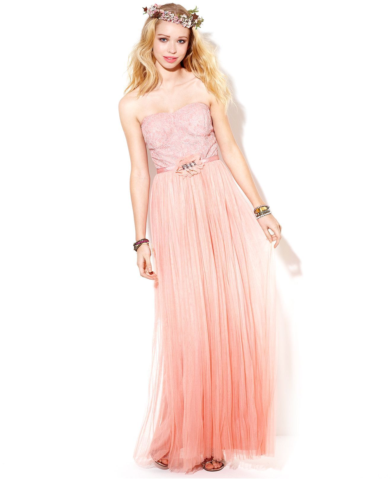 Rampage juniors dress strapless lace ombre gown womens dresses