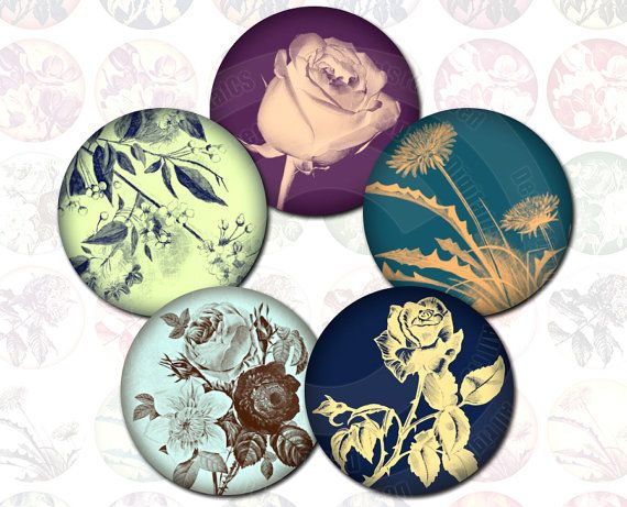 Digital collage sheet flowers, round, 1x1 digital collage sheet circle.  63 colorful flower images, created from vintage photos and graphics, in round