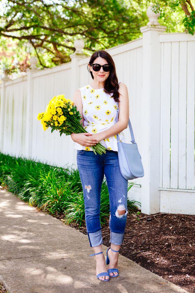 Spring Outfit Fl Peplum Top Light Blue Bag Distressed Jeans Sandals