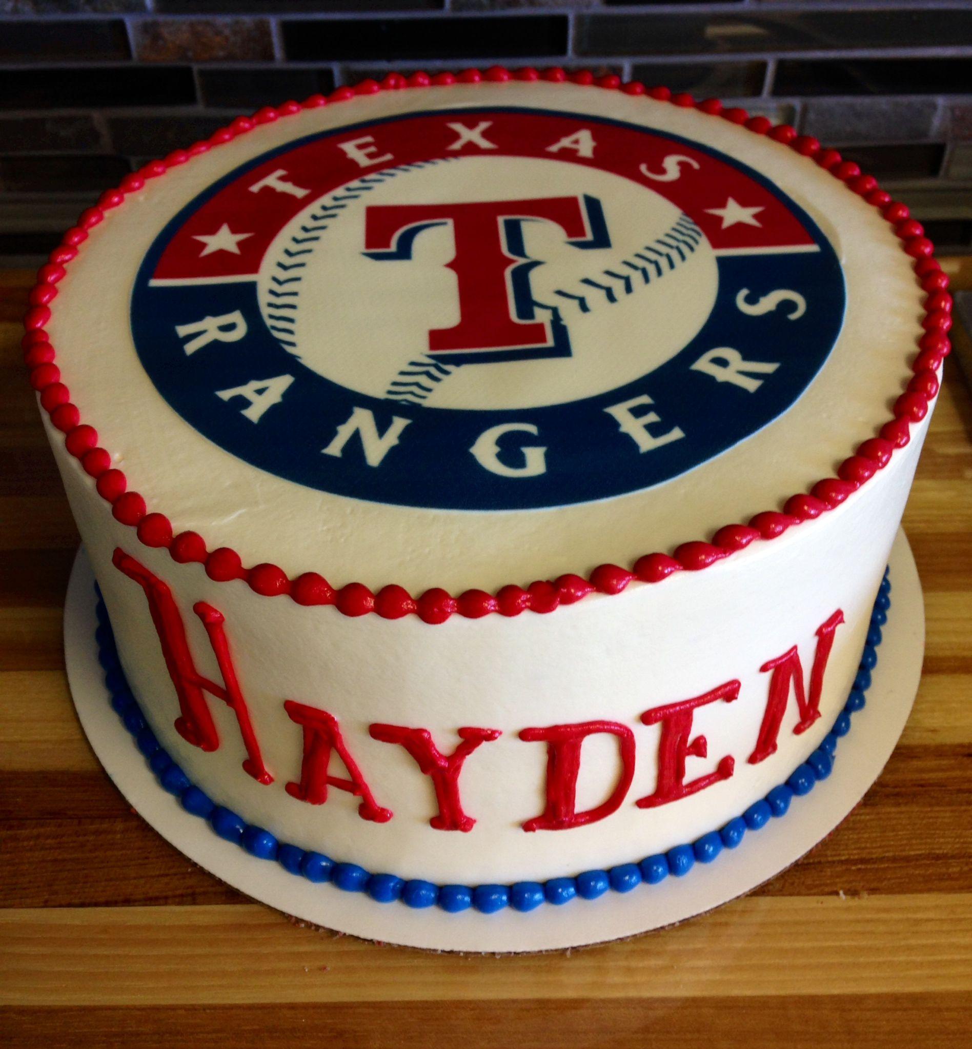 Surprising Texas Rangers Birthday Cake Baseball Birthday Party Cake Birthday Personalised Birthday Cards Veneteletsinfo