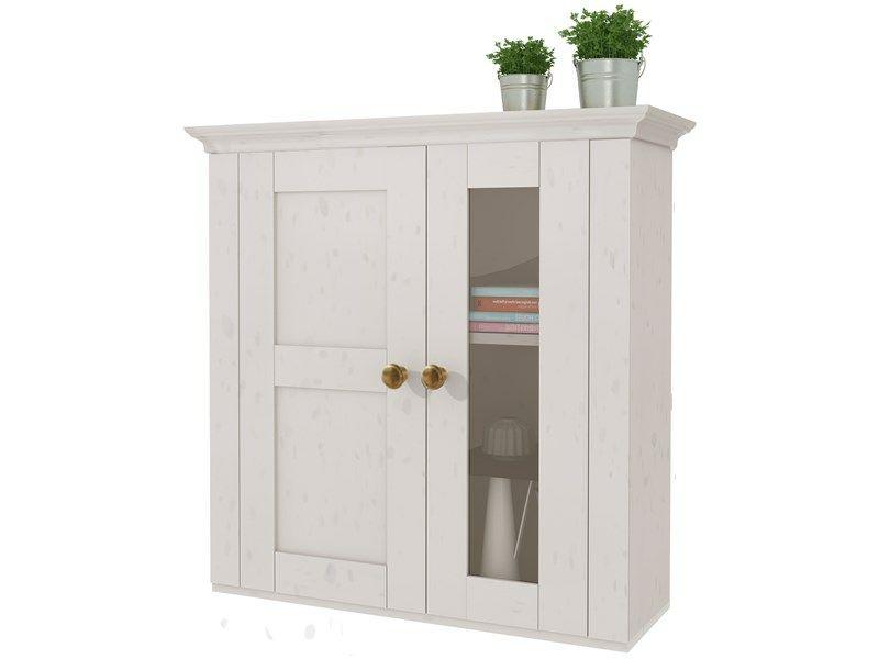 Praktischer Hängeschrank aus Kiefer massiv in weiß lackiert Der - hängeschrank wohnzimmer weiß