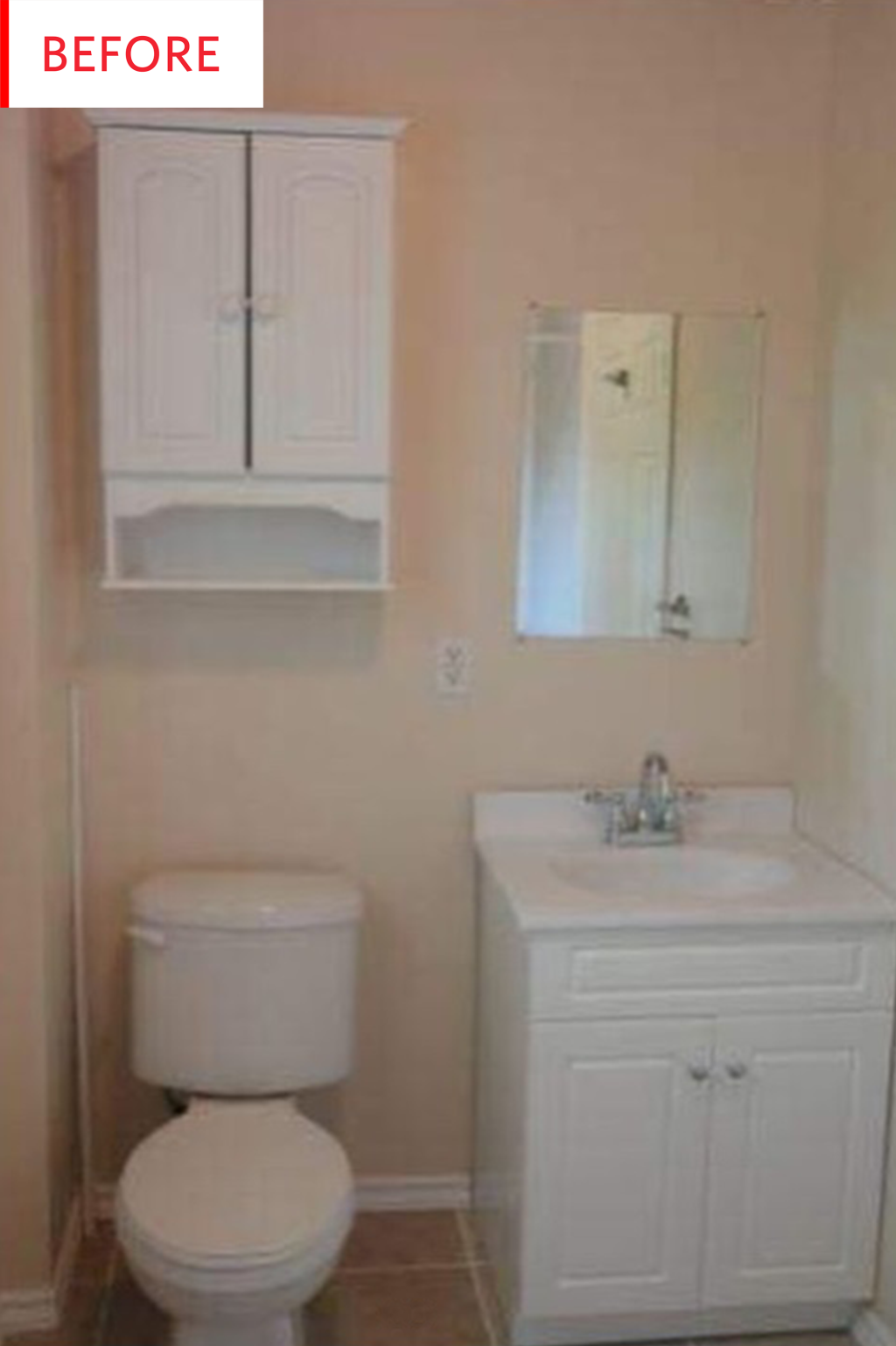 Before And After It S Amazing What A Measly 100 Can Do For A Beige Bathroom Cheap Bathroom Vanities Beige Bathroom Diy Bathroom Design