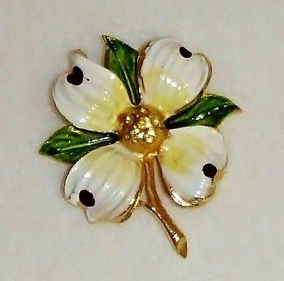 Vintage Gold Tone Enamel Yellow Rhinestone Dogwood Flower Brooch.