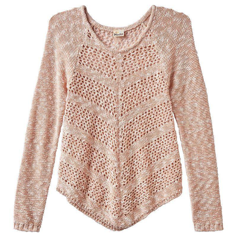 Girls 7-16 & Plus Size Mudd® Open-Work Shirttail Sweater, Girl's, Size: