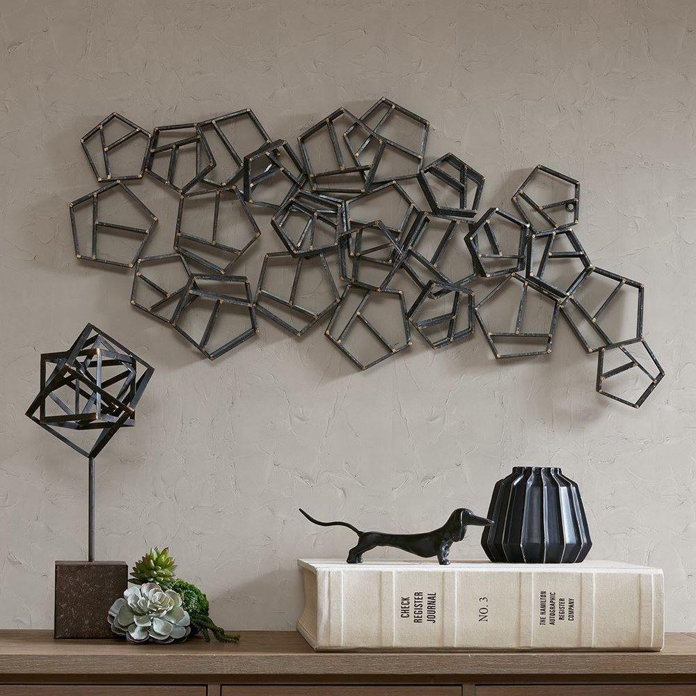 Luxury Spire Metal Grey Spiral Hexagon Collage Wall Decor Madisonpark Artdecostyle Metal Wall Decor Metal Walls Decor