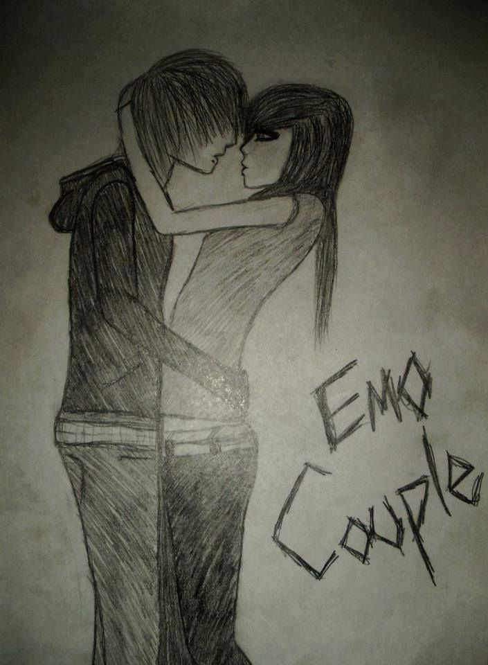 Emo couple drawing