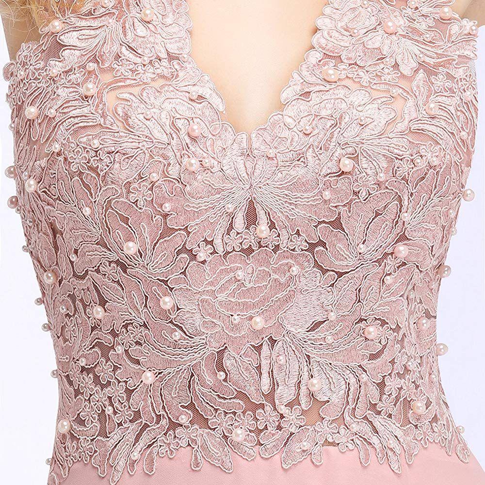 MisShow Hochzeitskleid Rot Lang Mit Perle Kleider Abendkleider