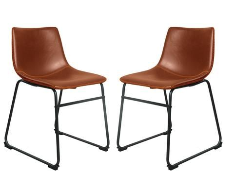 Incredible Set Of 2 Faux Leather Chora Dining Chairs Kitchen Dining Evergreenethics Interior Chair Design Evergreenethicsorg