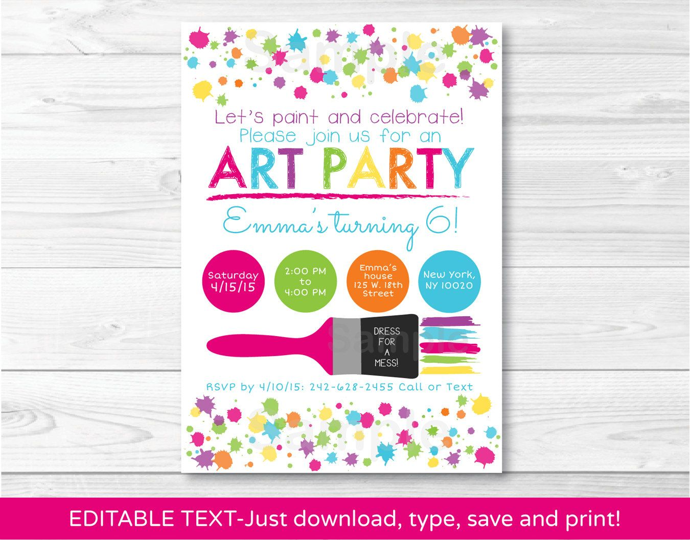 Art Party Birthday Invitation / Rainbow Art Party / INSTANT DOWNLOAD ...