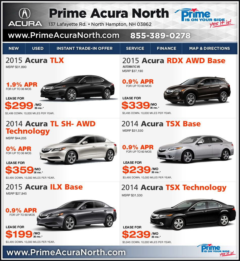 Acura Lease Deals Prime Acura North In Northampton Nh