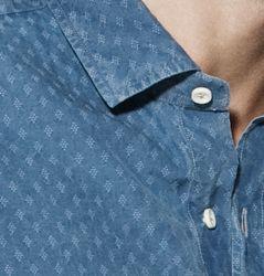 • Camicie da uomo in denim Jacquard e collo alla francese piccolo - Collezione Beluga Washed by Xacus