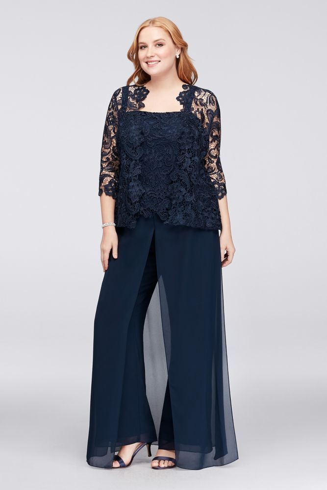 5e257b0672c6 Guipure Lace and Chiffon Plus Size Pant Suit