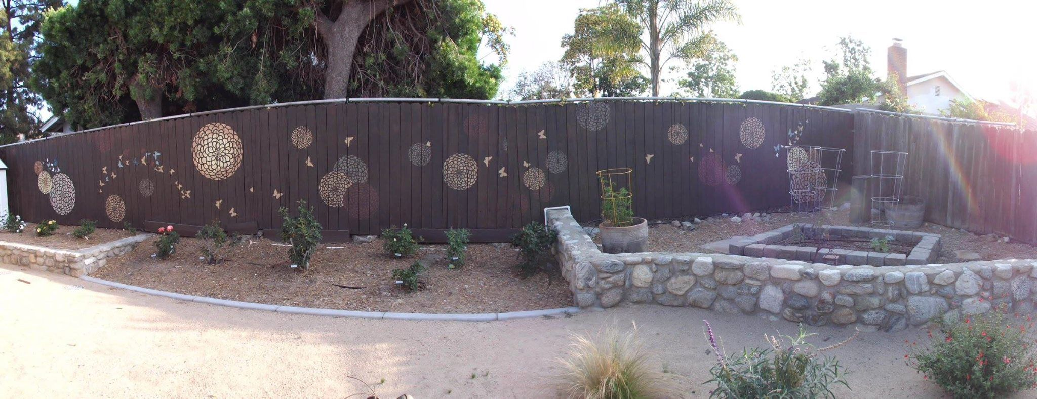 """FAN-tastic Stenciling! """"We love your stencils. We are in Southern California and have been working on a drought tolerant landscape. Using the stencils on the fence has brightened up the look a bit. We get different segment views of the fence from inside the house depending on what room we are in."""" ~Lori >> Buy the stencil:  http://www.cuttingedgestencils.com/flower-stencil-zinnia-wall.html?utm_source=JCG&utm_medium=Pinterest%20Comment&utm_campaign=Zinnia%20Grande%20Flower%20Stencil%20"""